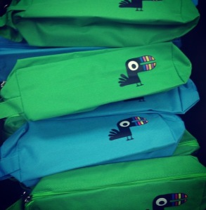 These are the pencil pouches filled with Yoobi products that I made last semester for my students.